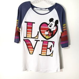 Disney Parks Mickey rainbow love raglan top